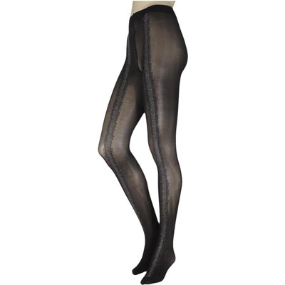 1 Pair Black / Silver Eloise Sparkle Seam Opaque Tights Ladies Small - Oroblu