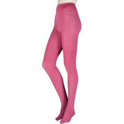 1 Pair Raspberry Brontie Bamboo and Organic Cotton Plain 80 Denier Tights Ladies Small - Thought, Pi