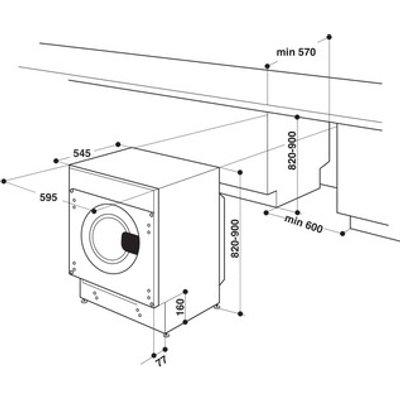 Hotpoint BIWDHG7148 Integrated Washer Dryer 1400rpm 7kg 5kg B Rated