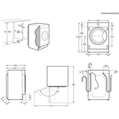 AEG L7FE7461BI 7000 Series Integrated Washing Machine 1400rpm 7kg