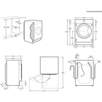 AEG L7WC8632BI 7000 Series Integrated Washer Dryer 1600rpm 8kg 4kg