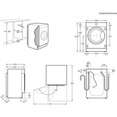 Zanussi Z816WT85BI 60cm Integrated Washer Dryer 1600rpm 8kg 4kg
