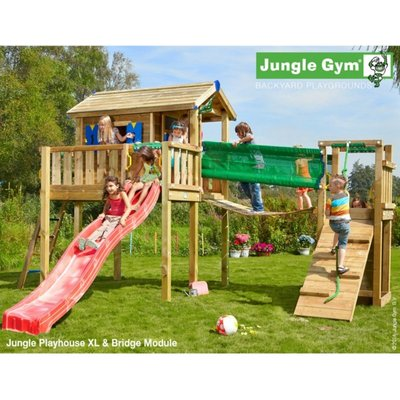 Jungle Gym Playhouse and Bridge with Installation - Brown
