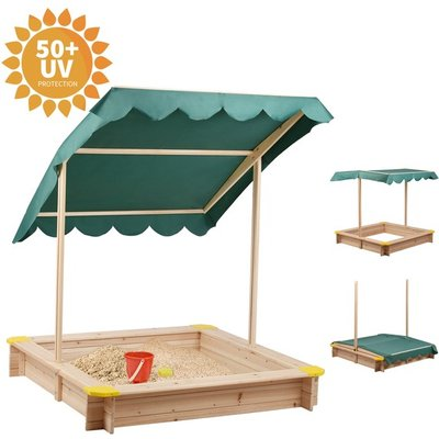 BIRCHTREE Kids Outdoor Wood Sandpit with Roof  - Green