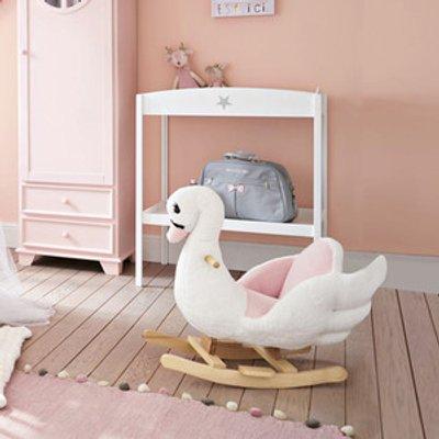 Plush Kids Ride On Rocking Horse Swan Toy - Pink