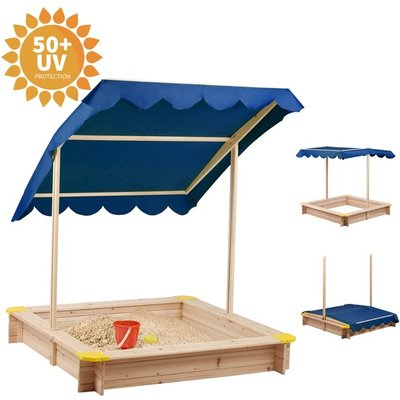 BIRCHTREE Kids Outdoor Wood Sandpit with Roof  - Blue