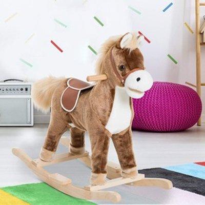 Kids Rocking Horse Plush  - Brown