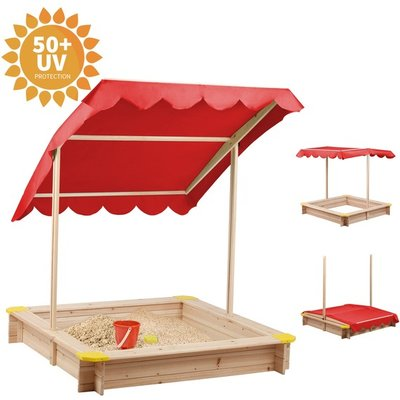 BIRCHTREE Kids Outdoor Wood Sandpit with Roof  - Red