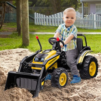 Kids Digger Ride On Excavator 6V Battery Construction Tractor - Yellow