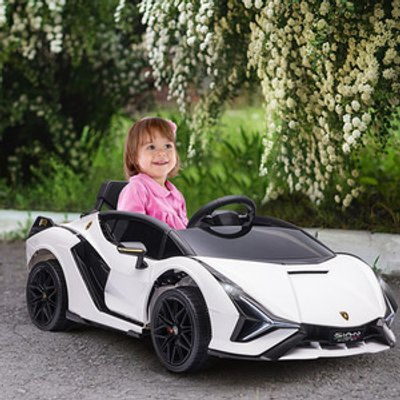 Compatible 12V Battery-powered Electric Ride On Car - White