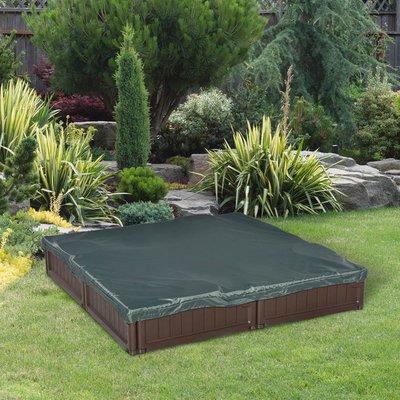 Kids Outdoor Sandbox with Waterproof Oxford Canopy  - Brown