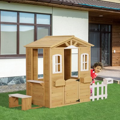 Wooden Outdoor Playhouse - Brown