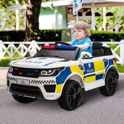 12V Kids Portable Electric Ride On Police Car - White