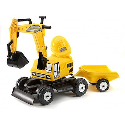 Falk Constructor Excavator & Trailer Ride-On with Helmet Accessory