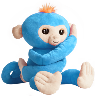 Fingerlings HUGS - Boris (Blue) - Advanced Interactive Plush Baby Monkey