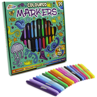 Grafix Coloured Markers 20 Pack