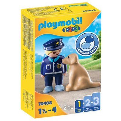 Playmobil 70408 1.2.3 Police Officer with Dog Figures