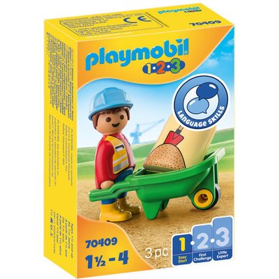 Playmobil 70409 1.2.3 Construction Worker with Wheelbarrow Playset