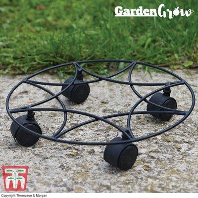 Garden Grow Black Metal Pot Mover on Wheels