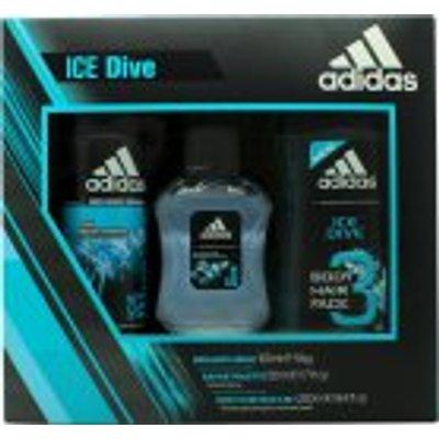 Adidas Ice Dive Gift Set 50ml EDT   250ml Shower Gel   150ml Deodorant Body Spray - 3614224500924