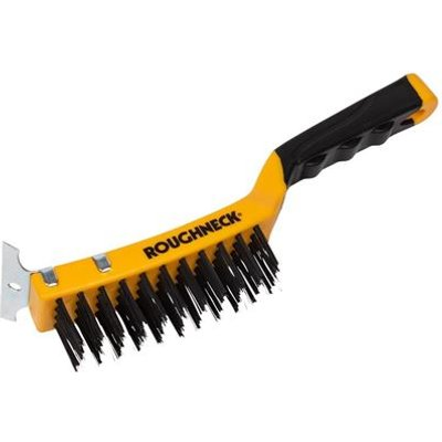 Carbon Steel Wire Brush Soft-Grip with Scraper 300mm (12in)