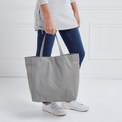 Leather Everyday Tote Bag, Pale Grey