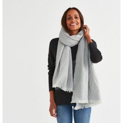 Wool Blanket Scarf, Misty Blue
