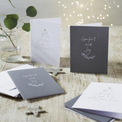 Sentiment Christmas Cards - Set of 10, White