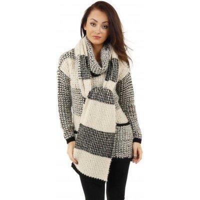 Cula Black & Beige Knit Striped Scarf
