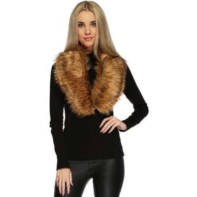 Caramel Black Tipped Thick Soft Fluffy Faux Fur Collar