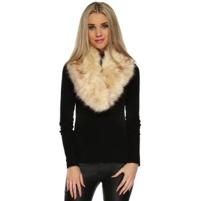 Beige Thick Soft Fluffy Faux Oversized Fur Collar