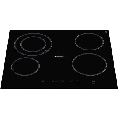 Hotpoint CRA641DC 4 Burner Black Glass Stainless Steel Electric Ceramic Hob 5016108791035