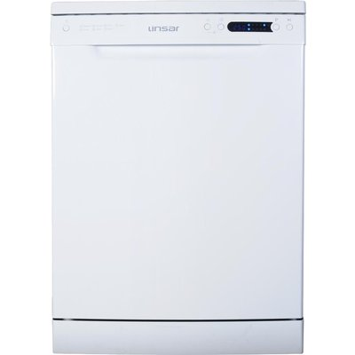 Linsar DW800 Freestanding Standard Dishwasher in White with 14 Place Settings - 5025761001931