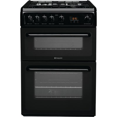 Hotpoint HAG60K 60cm Freestanding Gas Cooker in Black with FSD - 5016108624104