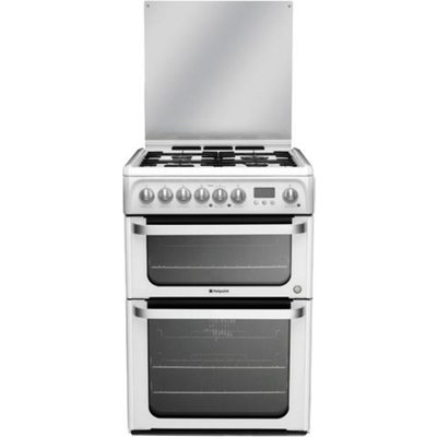 Hotpoint HUD61PS 60cm Freestanding Dual Fuel Cooker Polar White - 5016108810057