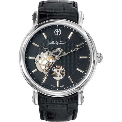 Mathey-Tissot  Gents Automatic Watch with Skeleton Detail and Leather Strap 379861