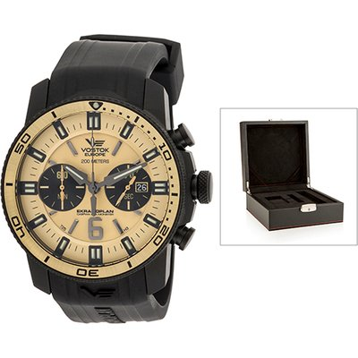 Vostok Europe Gent's Chronograph Ekranoplan Watch with Interchangeable Strap and Luxury Box 440448