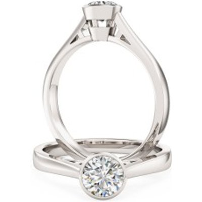 A stylish Round Brilliant Cut solitaire diamond ring in palladium (In stock)