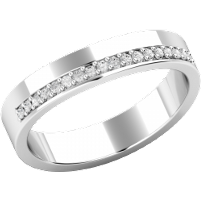 A Round Brilliant Cut diamond set wedding ring in 18ct white gold (In stock)