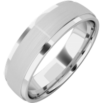 A stylish mixed finish mens wedding ring in 18ct white gold