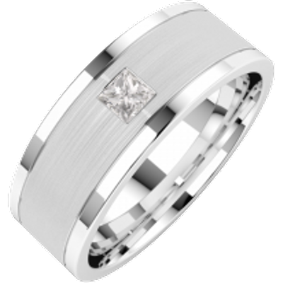 An elegant Princess Cut diamond set mens ring in platinum