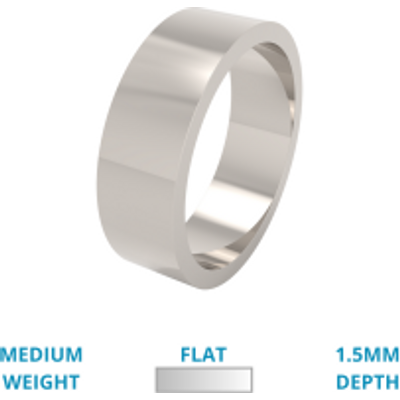 A classic flat top mens ring in medium palladium