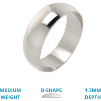 A stylish D shaped mens ring in medium platinum