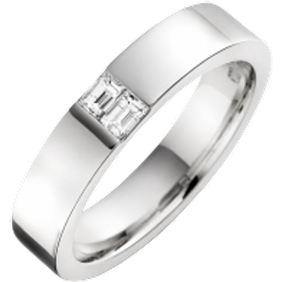 A stylish Baguette Cut diamond set mens ring in palladium