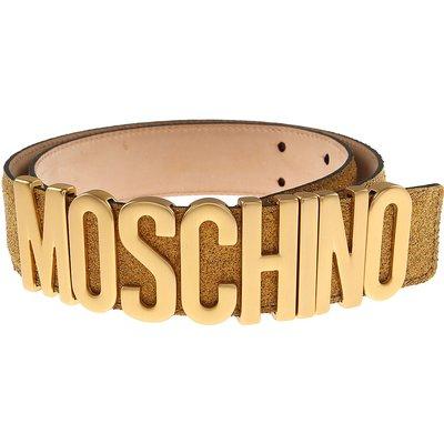 MOSCHINO Moschino Damengürtel Günstig im Sale, Goldfarben, Glitzerndes Leder, 2017, 42 44