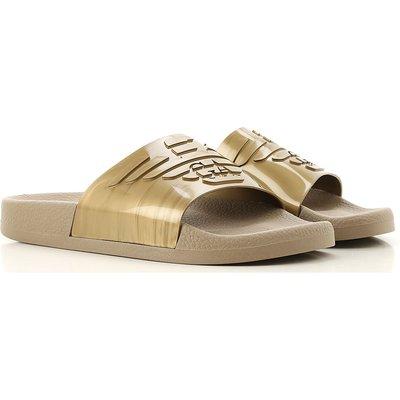EMPORIO ARMANI Emporio Armani Flip Flops für Damen, Flip-Flops Günstig im Sale, Metall-Gold, PVC, 2017, 36