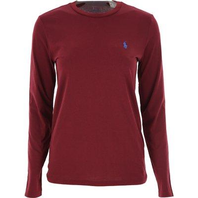 RALPH LAUREN Ralph Lauren T-Shirts für Damen, T'Shirts Günstig im Sale, Bordeauxrot, Baumwolle, 2017, M XS