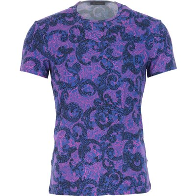 VERSACE Versace T-Shirts für Herren, T'Shirts Günstig im Outlet Sale, Blau, Viskose, 2017, S XL