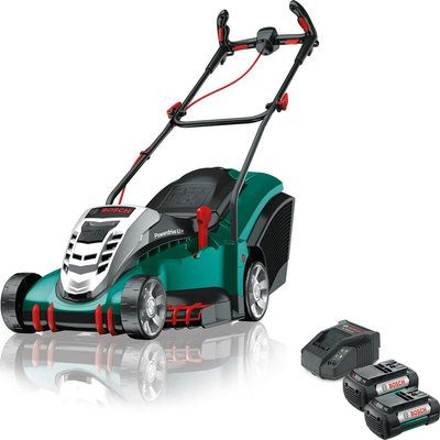Bosch ROTAK 410 LI ERGOFLEX 36v Cordless Rotary Lawnmower 430mm 2 x 4ah Li ion Charger - 5056293217682