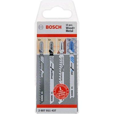 Bosch 15 Piece Assorted Wood and Metal Jigsaw Blade Set + FOC Carbide Blade